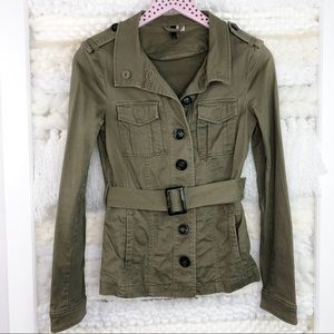 H&M Army Green Utility Jacket Button Belted Pocket